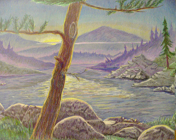 Pine Tree Art Print featuring the painting Mountain Sunset by D T LaVercombe