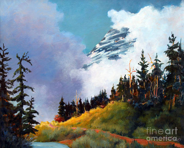 Landscape Art Print featuring the painting Mt. Rainier In Clouds by Marta Styk