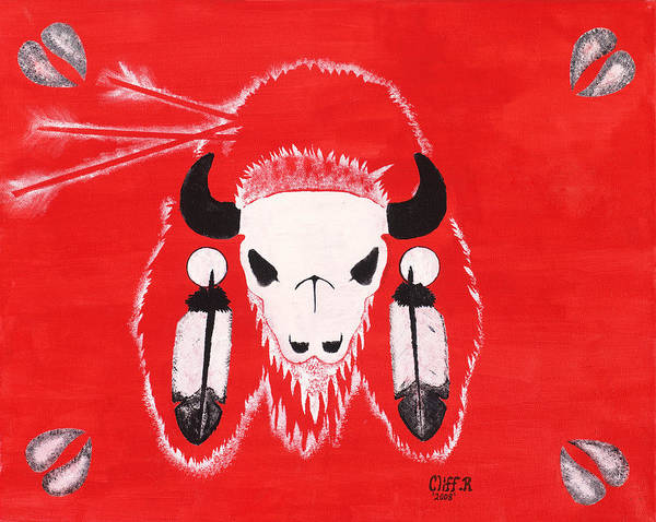 Buffalo Art Print featuring the painting My First Kill by Cliff Rabbitskin