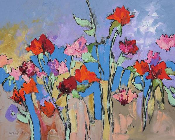 Garden Art Print featuring the painting Mystical by Linda Monfort