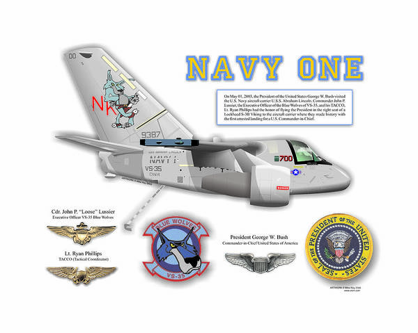 Aviation Art Print featuring the digital art Navy One by Mike Ray