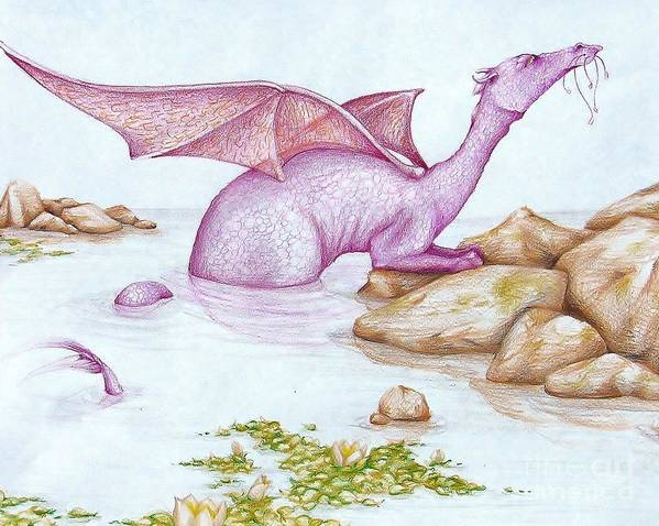 Dragon Art Print featuring the drawing Nessy's Cousin by K M Pawelec