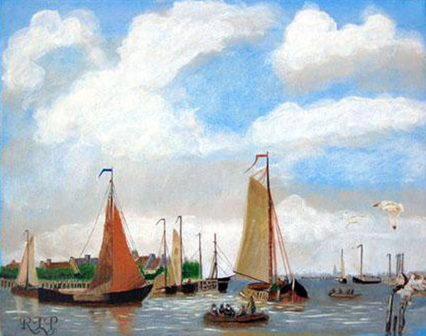Netherlands Art Print featuring the painting Netherland's Harbour by Richard Le Page