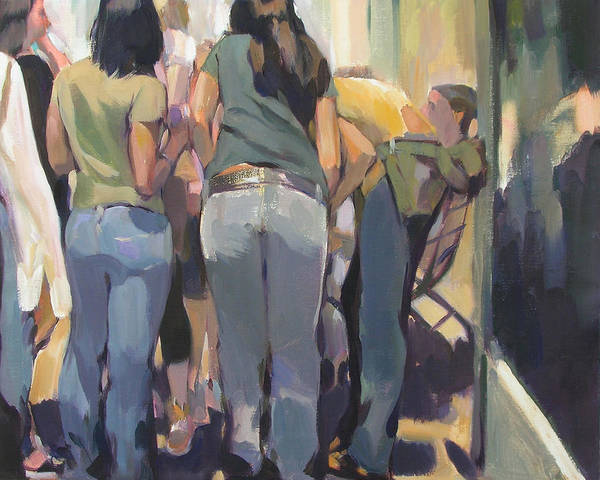 New York Cityscape Showing Teenagers On The Street Art Print featuring the painting New York Kids by Merle Keller
