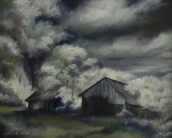 Motel; Route 66; Desert; Abandoned; Delapidated; Lost; Highway; Route 66; Road; Vacancy; Run-down; Building; Old Signage; Nastalgia; Vintage; James Christopher Hill; Jameshillgallery.com; Foliage; Sky; Realism; Oils; Barn Art Print featuring the painting Night Barn by James Christopher Hill