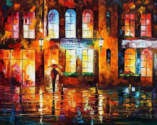 Afremov Art Print featuring the painting Night City by Leonid Afremov