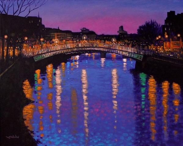 Dublin Art Print featuring the painting Nighttown Ha Penny Bridge Dublin by John Nolan