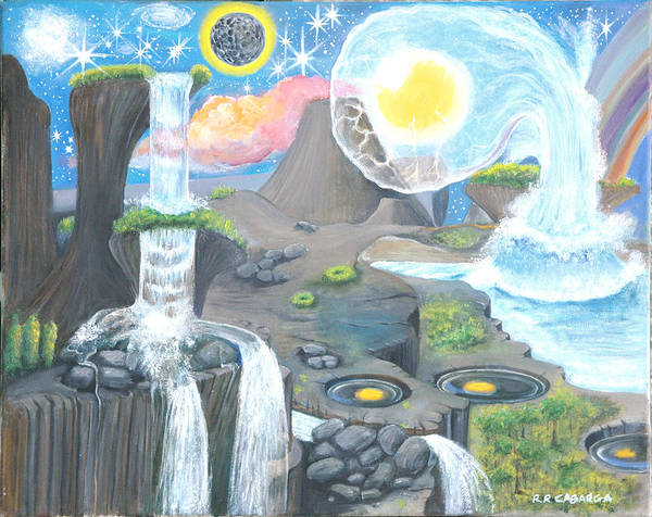 Landscape Art Print featuring the painting Nocturnal Biohydroloft by Rr Cabarga