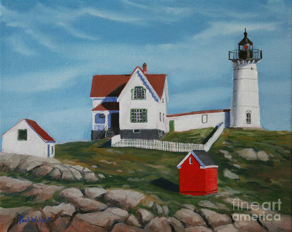 Seascape Print featuring the painting Nubble Light House by Paul Walsh