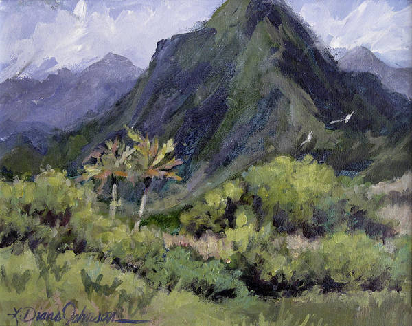 Hawaii Mountain Art Print featuring the painting Oahu Valley by L Diane Johnson