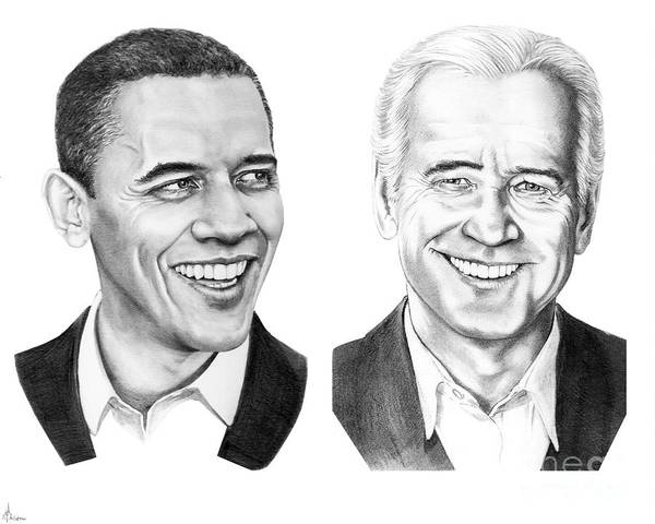 President Art Print featuring the drawing Obama Biden by Murphy Elliott