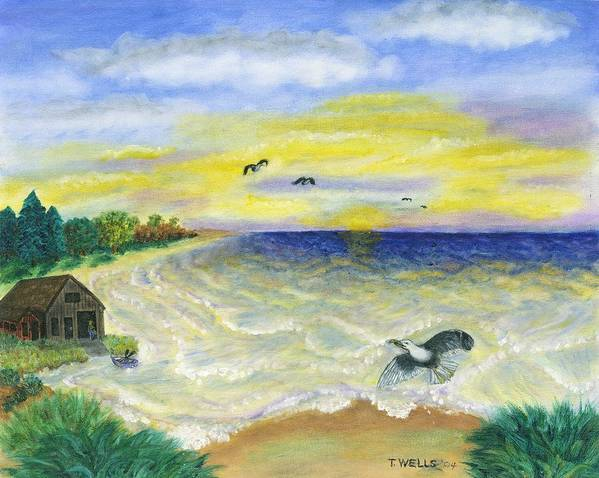 Ocean Art Print featuring the painting Ocean Delight by Tanna Lee M Wells