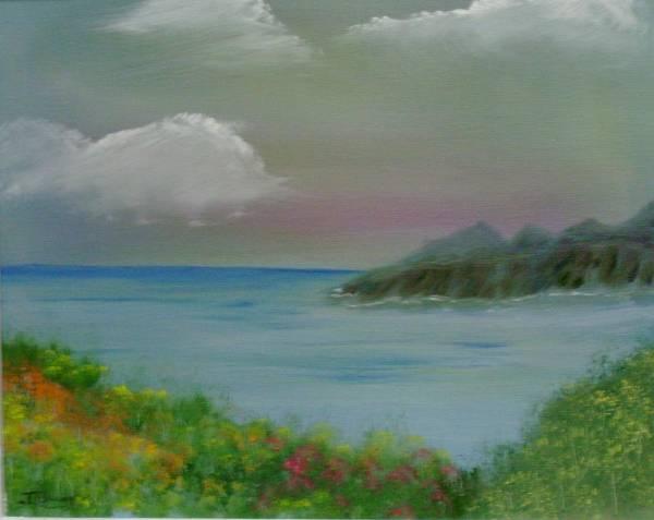 Ocean Art Print featuring the painting Ocean Meadow by Dottie Briggs