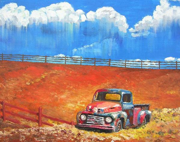 Automobile Art Print featuring the painting Old Rusty by Janos Szatmari