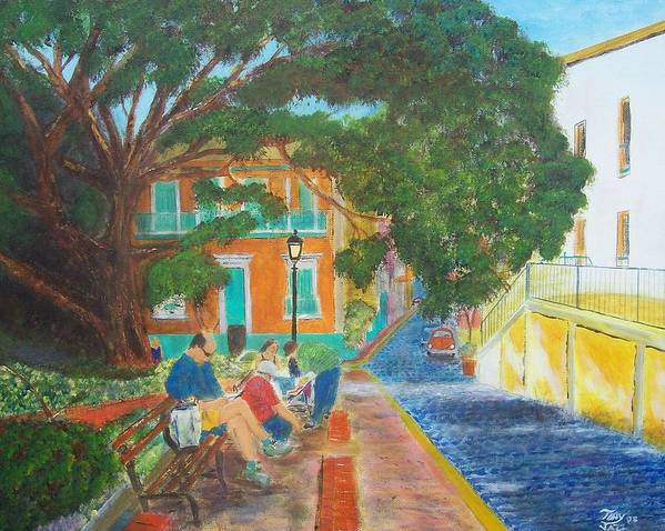 Landscape Art Print featuring the painting Old San Juan Street Scene by Tony Rodriguez