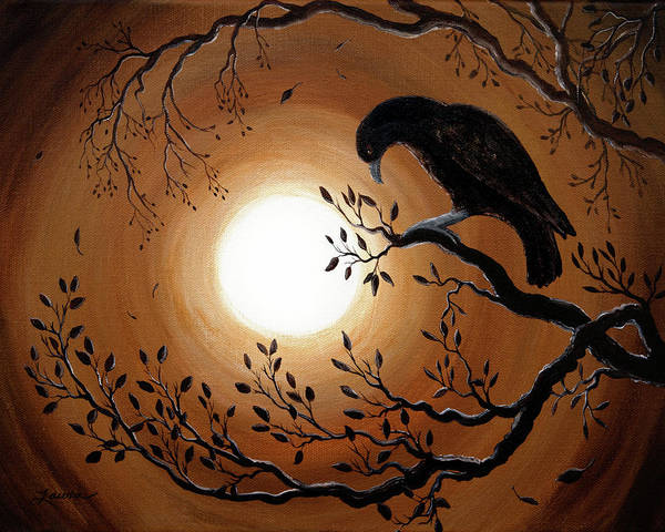 Moon Art Print featuring the painting Ominous Bird Of Yore by Laura Iverson