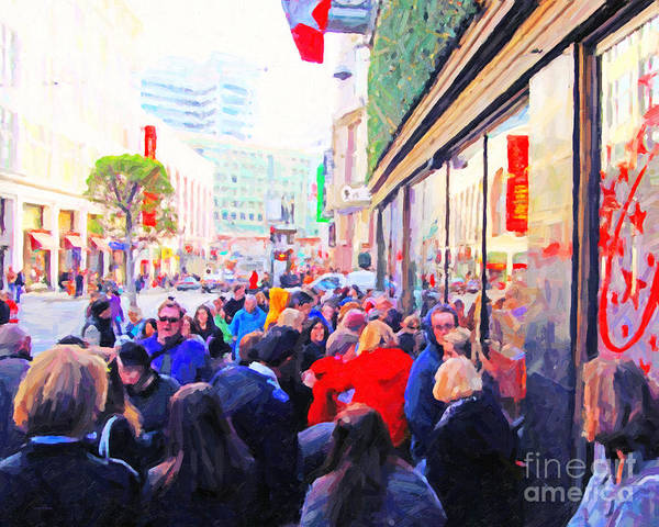 Powell Street Art Print featuring the photograph On The Day Before Christmas . Stockton Street San Francisco . Photo Artwork by Wingsdomain Art and Photography