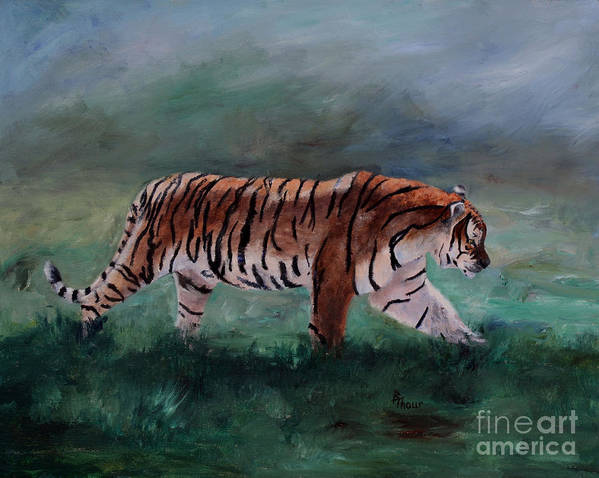 Tiger Art Print featuring the painting On The Prowl by Brenda Thour