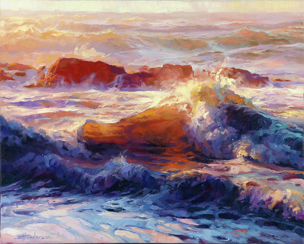 Ocean Art Print featuring the painting Opalescent Sea by Steve Henderson