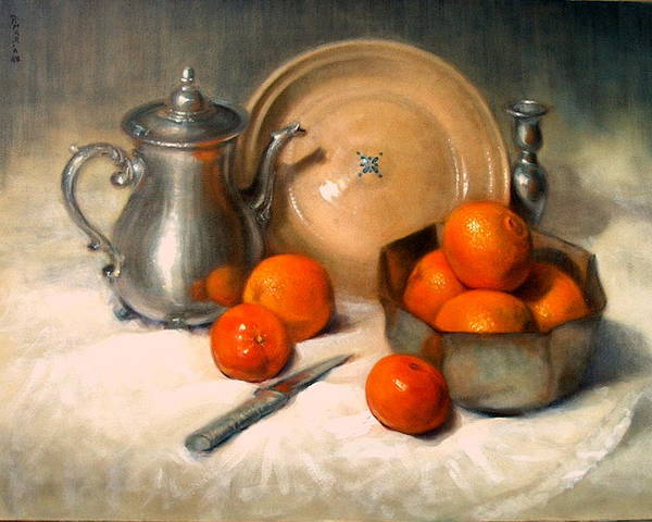 Realism Art Print featuring the painting Orange And Gray by Donelli DiMaria