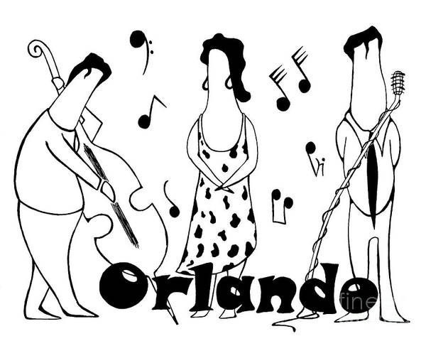 Ink Art Print featuring the drawing Orlando Jazz by Jack Norton