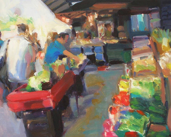 Outdoor Market Art Print featuring the painting Outdoor Market by Merle Keller