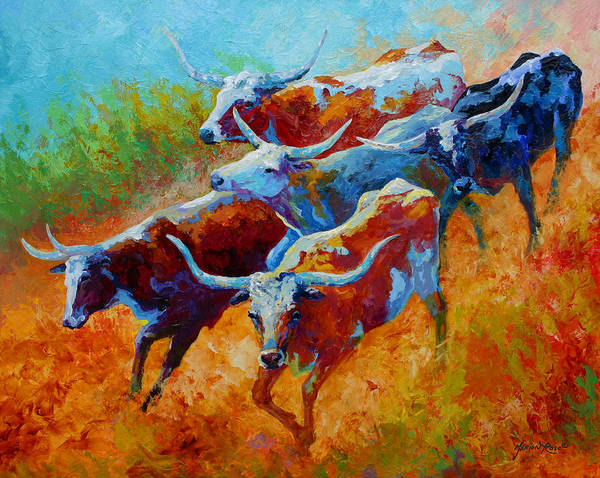 Western Art Print featuring the painting Over The Ridge - Longhorns by Marion Rose