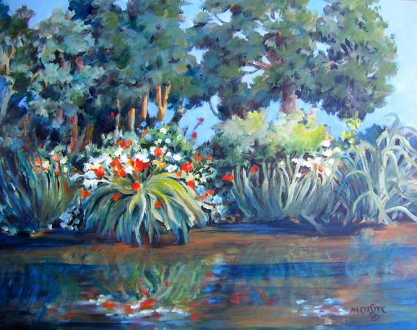 Landscape Art Print featuring the painting Painting At Lora's by Marta Styk