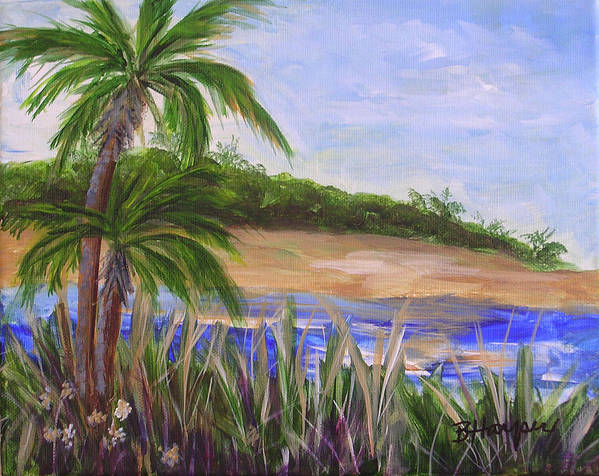 Palm Trees Art Print featuring the painting Palm Trees In Florida Cove by Barbara Harper