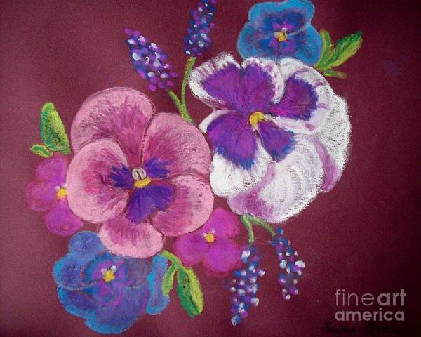 Florals Art Print featuring the pastel Pansy Grandeur by Sandra McClure