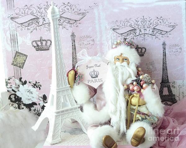 Paris Santa Claus Prints Art Print featuring the photograph Paris Shabby Chic Holiday Santa - Paris Pink Santa Claus Joyeux Noel - Pink Santa Eiffel Tower Print by Kathy Fornal