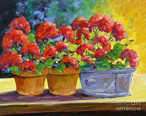 Still Life; Geraniums; Flowers; Terra Cotta; Red; Blue; Yellow; Green; Pranke; Art Print featuring the painting Passion In Red by Richard T Pranke