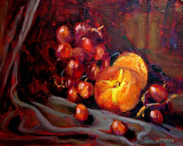 Fruit Art Print featuring the painting Peaches And Grapes by Brian Simons