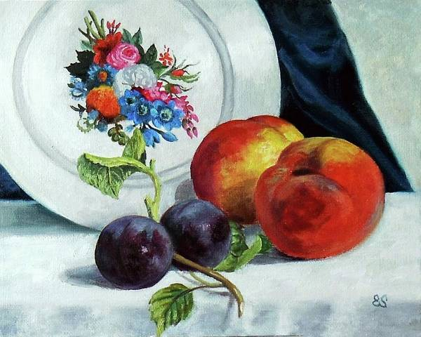 Fruit Art Print featuring the painting Peaches And Plums by Edward Skallberg