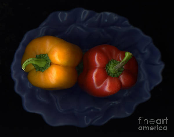 Slanec Art Print featuring the photograph Peppers And Blue Bowl by Christian Slanec