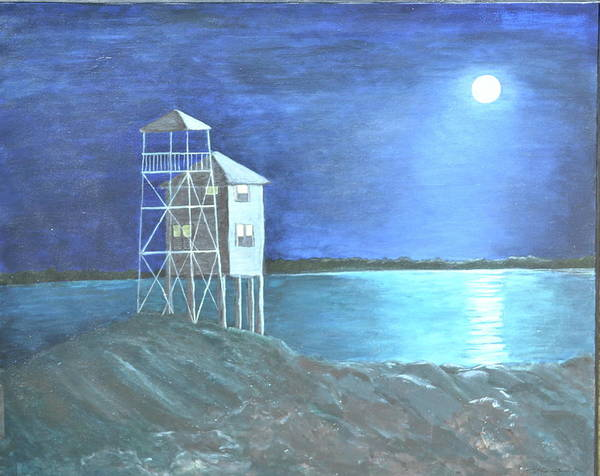 Night Scene Art Print featuring the painting Pilot House by Sheryl Sutherland