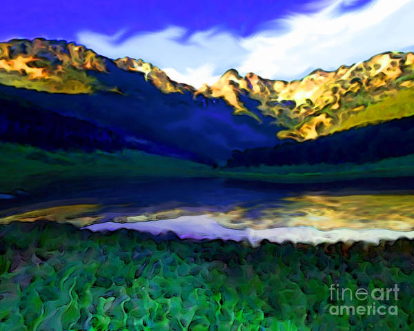 Sunset Art Print featuring the painting Piney Mountain by Mike Massengale