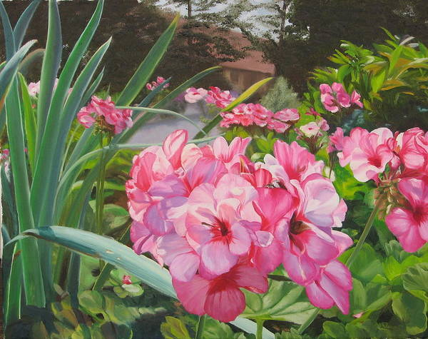 Pink Geraniums Art Print featuring the painting Pink Geraniums by Lea Novak