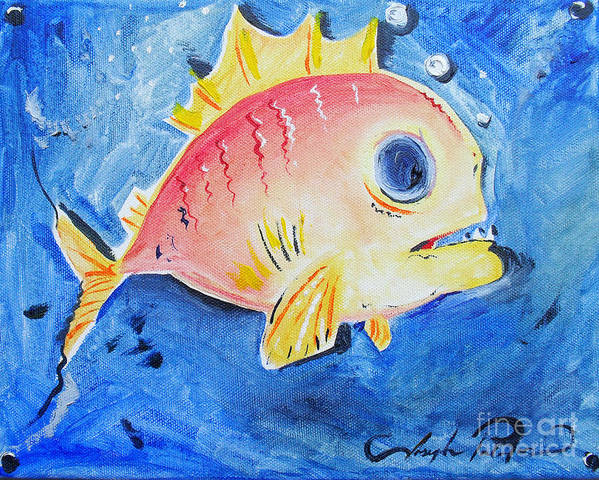 Fish Art Print featuring the painting Piranha Art by Joseph Palotas