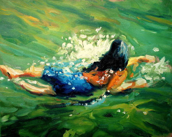 Landscape Paintings Art Print featuring the painting Plunge by Brian Simons