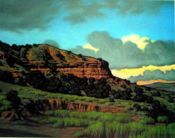 Landscape Art Print featuring the painting Pojoaque by Kevin Lawrence Leveque