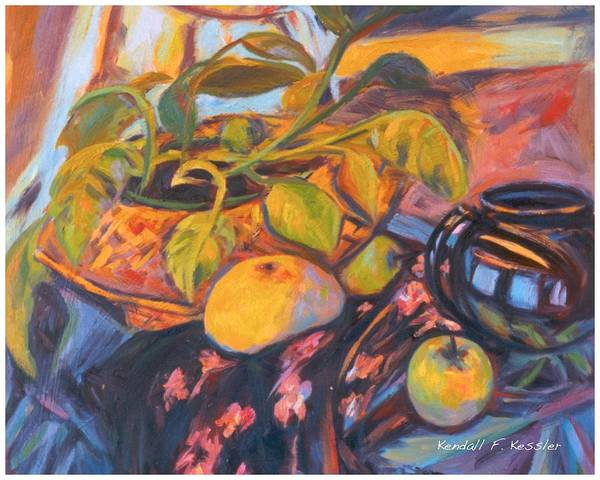 Still Life Art Print featuring the painting Pollys Plant by Kendall Kessler