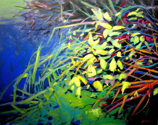 Pond Paintings Art Print featuring the painting Pondside by Brian Simons