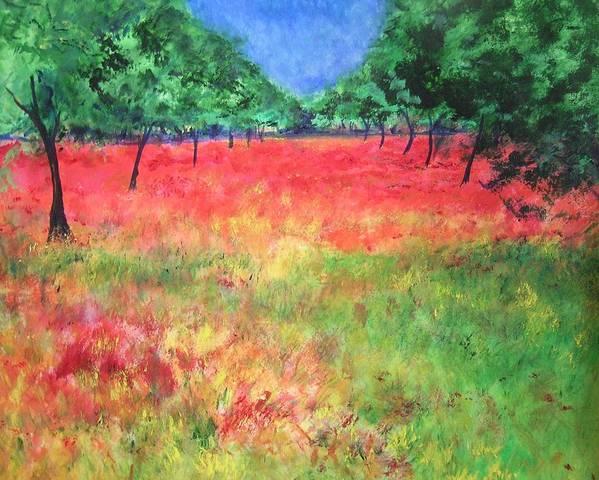 Original Landscape Painting. Poppy Field Art Print featuring the painting Poppy Field II by Lizzy Forrester