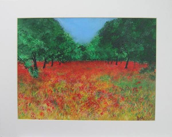 Poppy Art Print featuring the painting Poppy Field In Ibiza by Lizzy Forrester