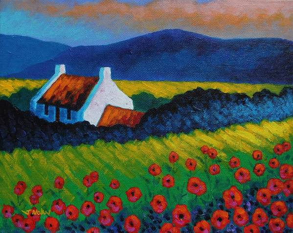 Landscape Art Print featuring the painting Poppy Meadow by John Nolan