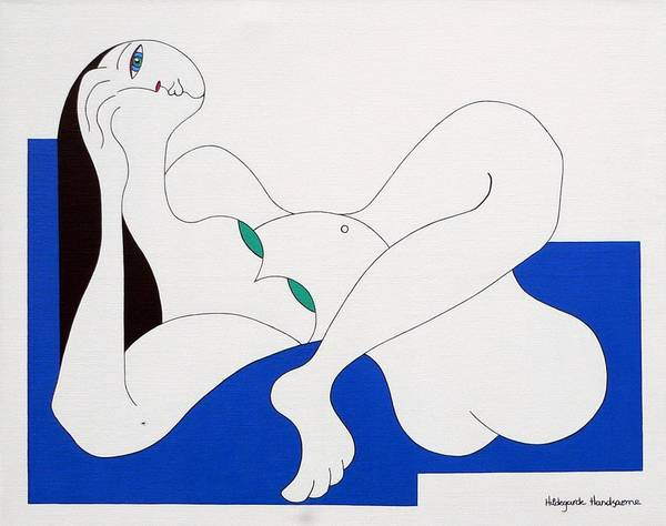 Women Green Bleu White Special Art Print featuring the painting Position Women by Hildegarde Handsaeme
