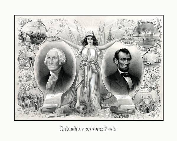 Abraham Lincoln Art Print featuring the drawing Presidents Washington And Lincoln by War Is Hell Store
