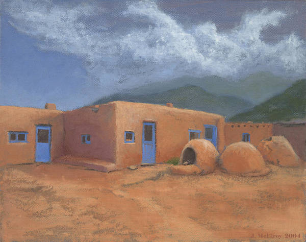 Taos Art Print featuring the painting Puertas Azul by Jerry McElroy