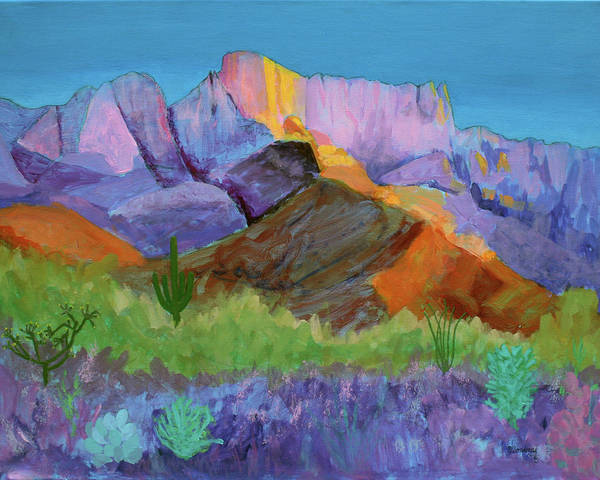 Landscape Print featuring the painting Purple Catalina by Mordecai Colodner